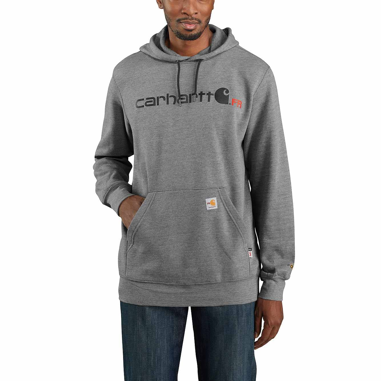 Picture of Flame-Resistant Force Original Fit Midweight Hooded Logo Graphic Sweatshirt in Granite Heather