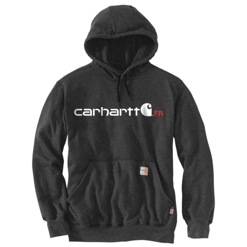 Carhartt  Black Heather Flame-Resistant Force Original Fit Midweight Hooded Logo Graphic Sweatshirt