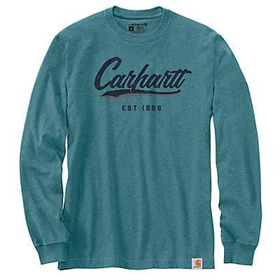 Carhartt Men's Blue Spruce Heather Loose Fit Heavyweight Long-Sleeve Hand-Painted Graphic T-Shirt