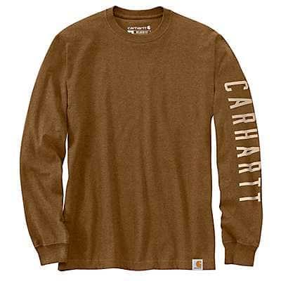 Carhartt Men's Oiled Walnut Heather Relaxed Fit Heavyweight Sleeve Logo Graphic T-Shirt