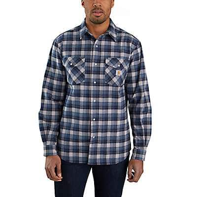 Carhartt Men's Navy Rugged Flex® Relaxed Fit Midweight Flannel Long-Sleeve Snap-Front Plaid Shirt