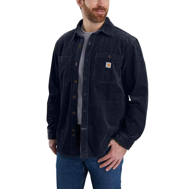 Carhartt  Navy Loose Fit Heavyweight Corduroy Jersey-Lined Long-Sleeve Shirt