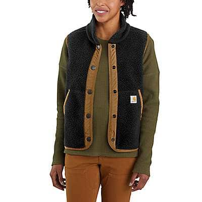 Carhartt Women's Black Relaxed Fit Fleece Button-Front Vest