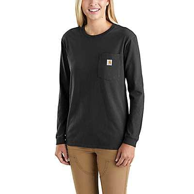 Carhartt Women's Black Loose Fit Heavyweight Long-Sleeve Pocket Women at Work Graphic T-Shirt