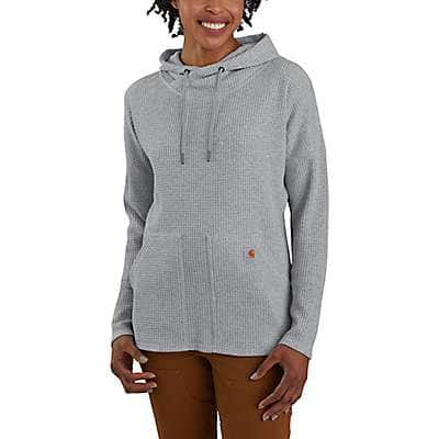 Carhartt Women's Heather Gray Relaxed Fit Heavyweight Long-Sleeve Hooded Thermal Shirt