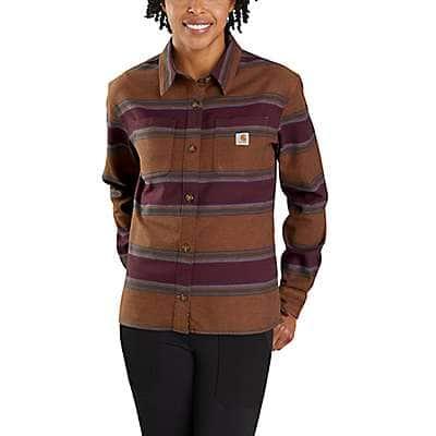 Carhartt Women's Carhartt Brown Stripe Rugged Flex® Loose Fit Midweight Flannel Long-Sleeve Plaid Shirt