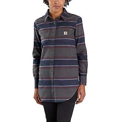 Carhartt Women's Shadow Stripe TW4974 W RF RlxdFit MW Flnl Tunic Shirt