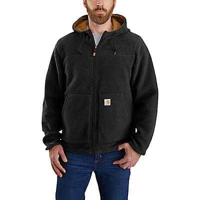 Carhartt Men's Black/Carhartt Brown Rain Defender® Relaxed Fit Fleece Reversible Jacket