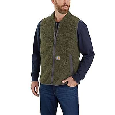 Carhartt Men's Basil Heather Relaxed Fit Fleece Full Zip Vest