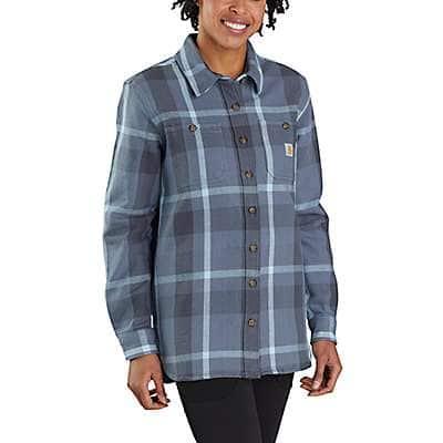 Carhartt Women's Folkstone Gray Loose Fit Heavyweight Twill Long-Sleeve Plaid Shirt
