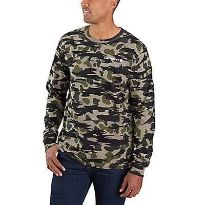Carhartt Men's Black Blind Duck Camo Relaxed Fit Heavyweight Long-Sleeve Camo Logo Graphic T-Shirt