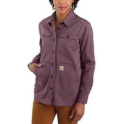 Carhartt Women's Amethyst Smoke Loose Fit Midweight Twill Long-Sleeve Jersey-Lined Shirt