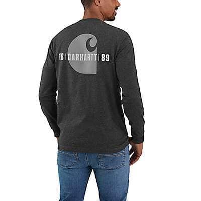 Carhartt Men's Carbon Heather Loose Fit Heavyweight Long-Sleeve Pocket Carhartt C Graphic T-Shirt