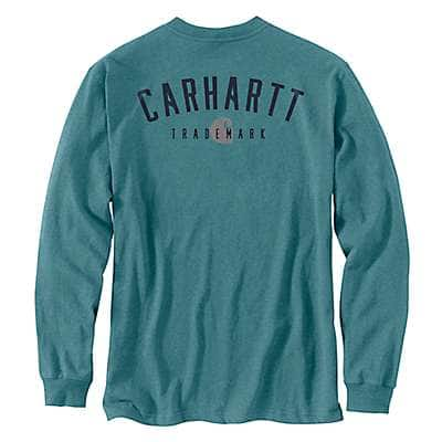 Carhartt Men's Blue Spruce Heather Loose Fit Heavyweight Long-Sleeve Pocket Trademark Graphic T-Shirt