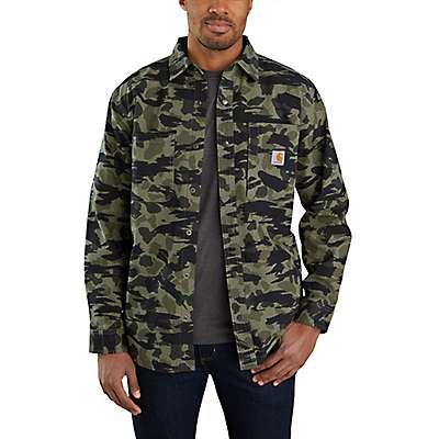 Carhartt Men's Black Blind Duck Camo Rugged Flex® Relaxed Fit Canvas Fleece-Lined Snap-Front Camo Shirt Jac