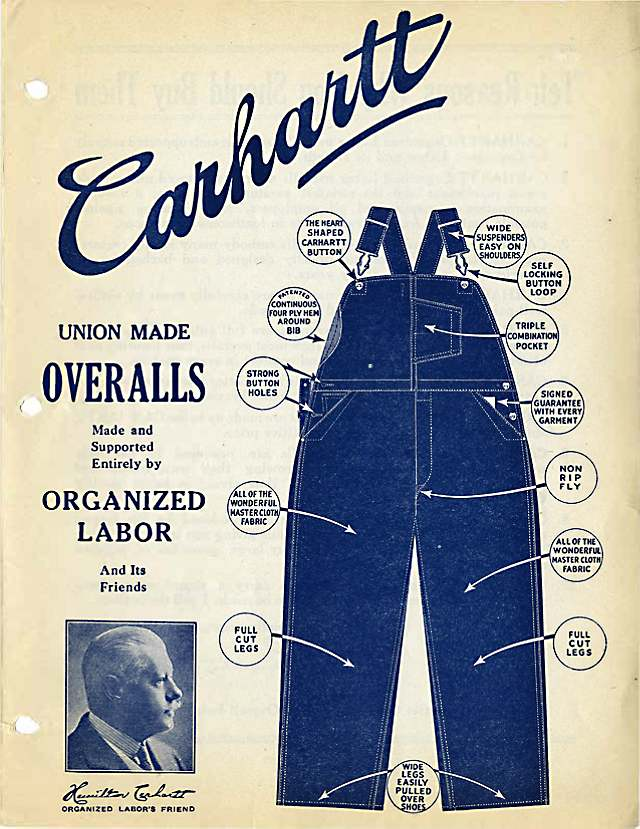 Carhartt Overalls advertisement, circa 1925