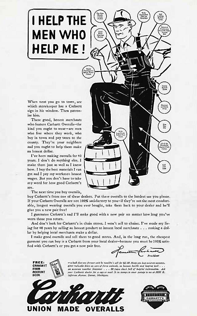 Carhartt Overalls advertisement, circa 1935