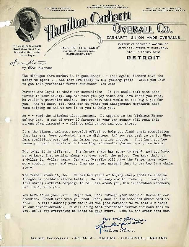 Retailer letter regarding farmers, circa 1935