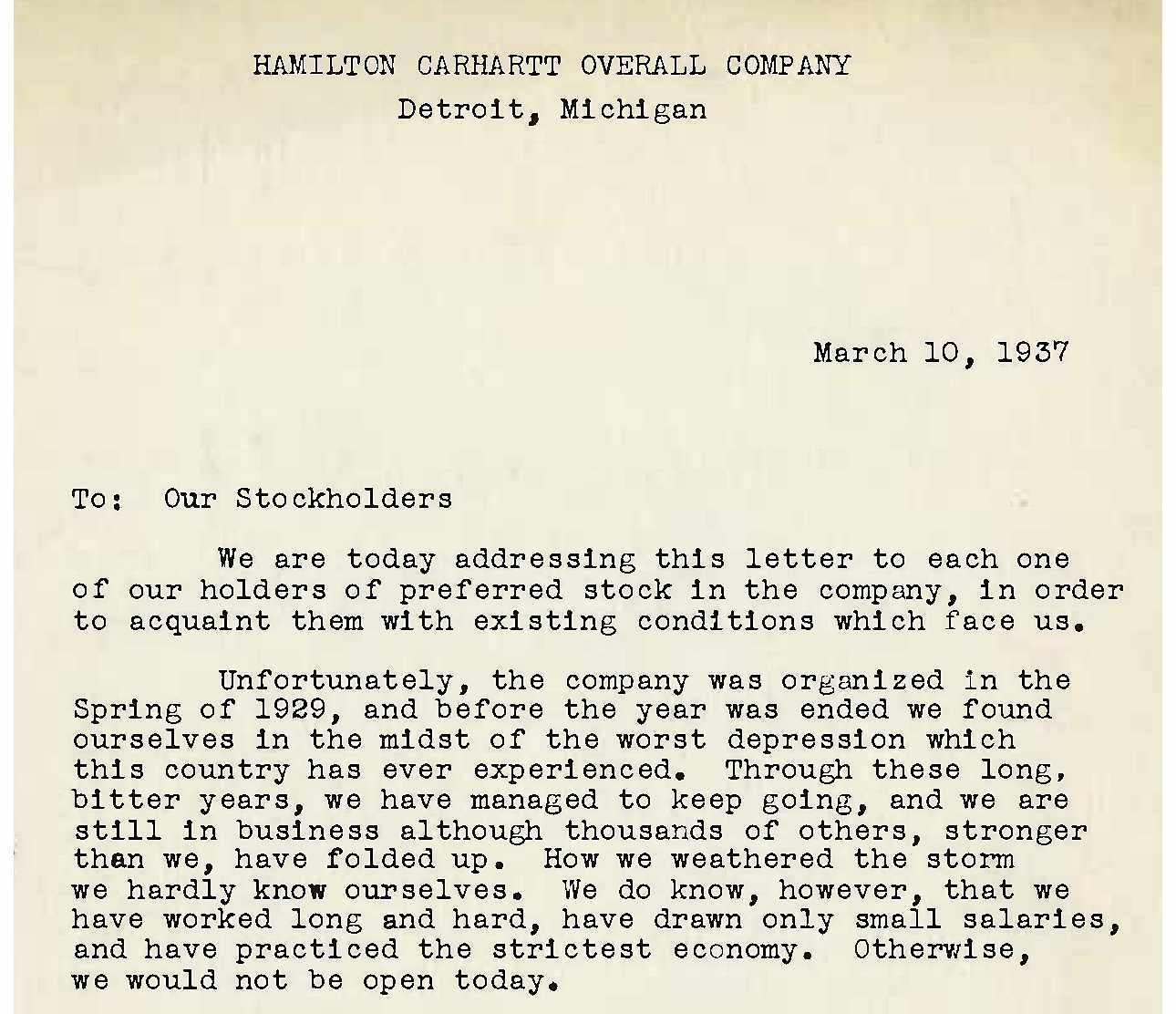 Letter to stockholders describing financial setbacks, 1937