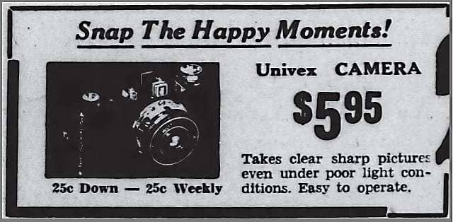 Univex Camera Advertisement, Battle Creek Enquirer, May 26, 1939