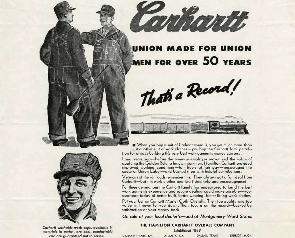 Carhartt ad print, circa 1945