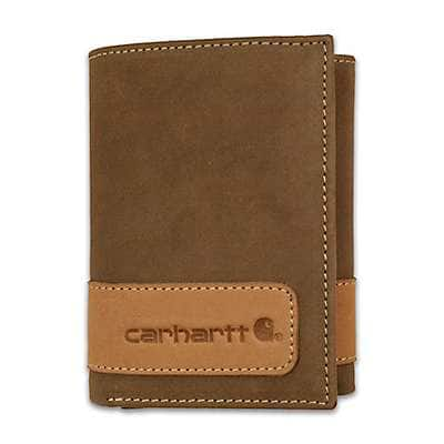Carhartt Men's Carhartt Brown Two-Tone Trifold Wallet - front