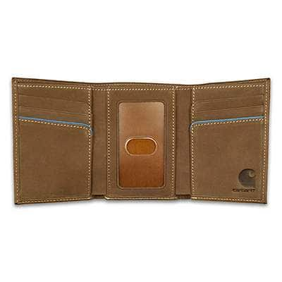 Carhartt Men's Carhartt Brown Two-Tone Trifold Wallet - back
