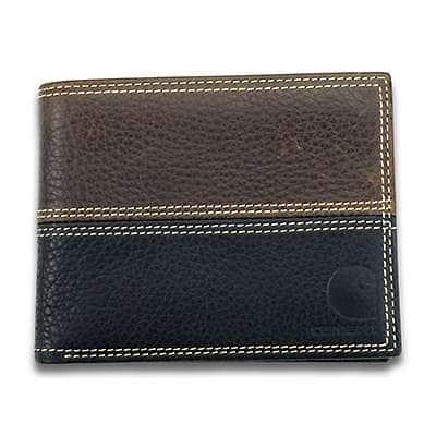 Carhartt Men Brown and Black Leather Rugged Passcase - front