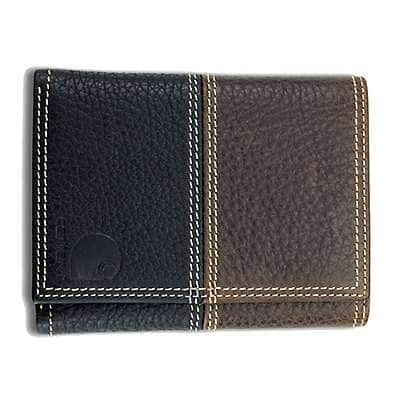 Carhartt Men Brown and Black Leather Rugged Trifold Wallet - front
