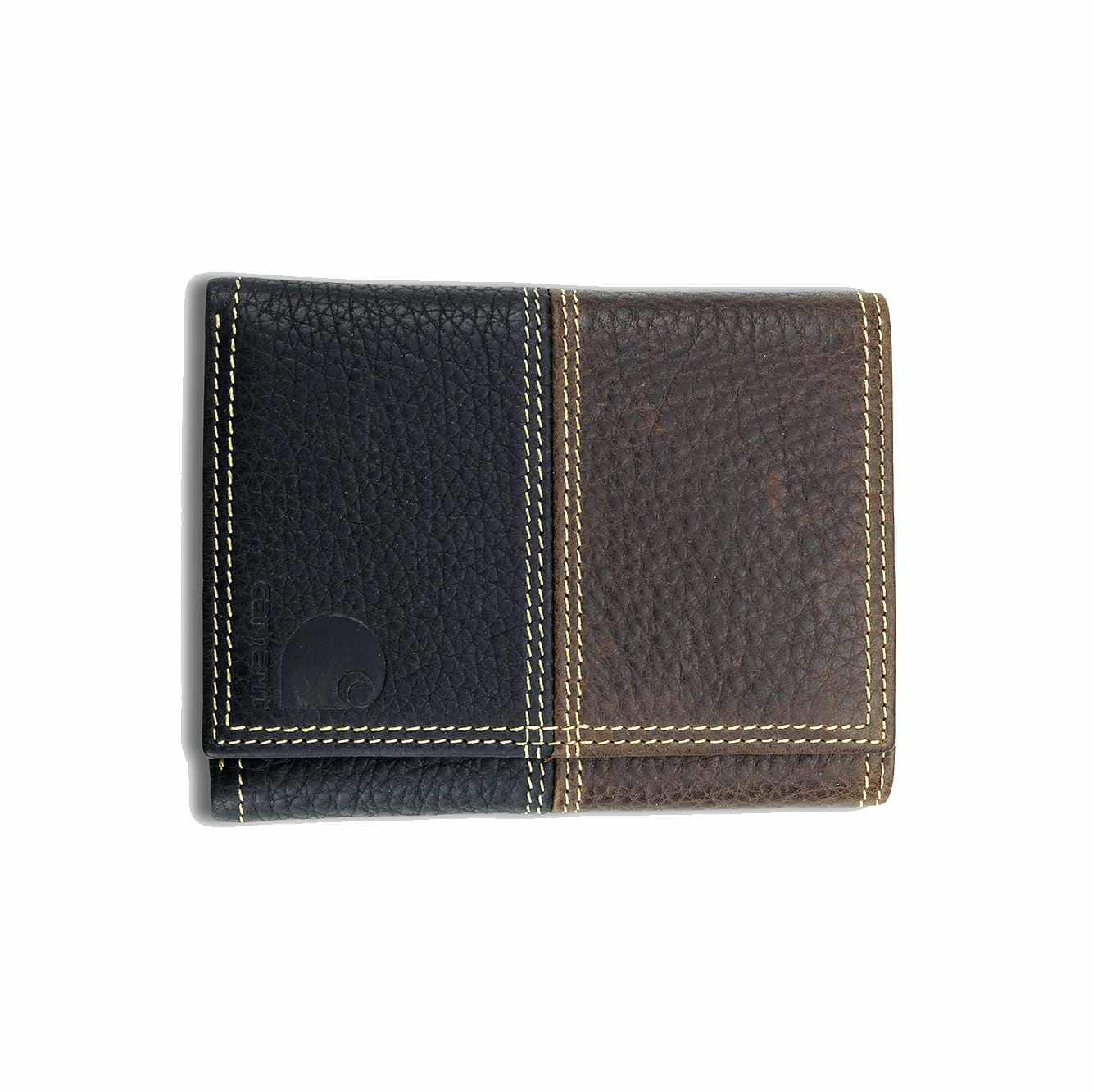 Picture of Rugged Trifold Wallet in Brown and Black Leather