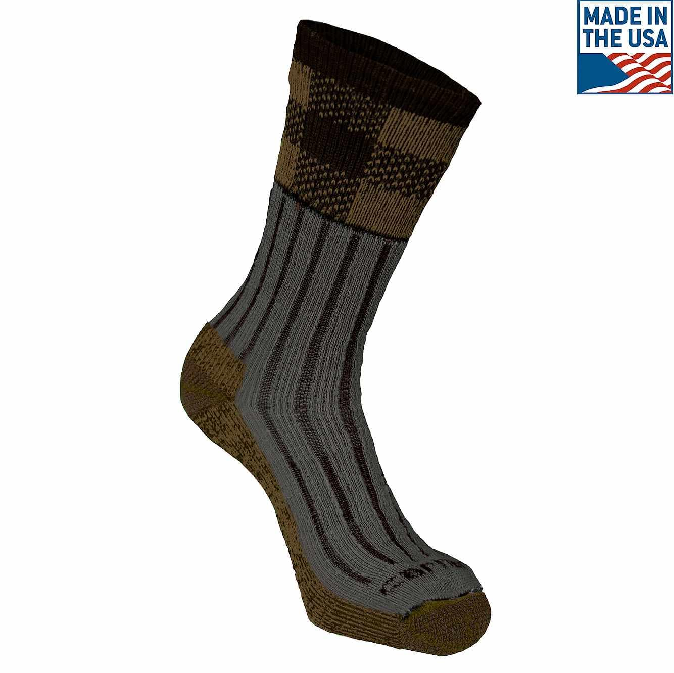 Picture of Timberville Plaid Crew Sock in Brown