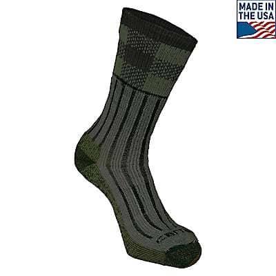 Carhartt Men's Green Timberville Plaid Crew Sock - front