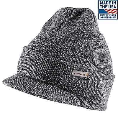 Carhartt Men's Black/White Knit Hat with Visor - front