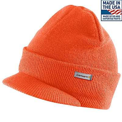 Carhartt Men's Brite Orange Knit Hat with Visor - front