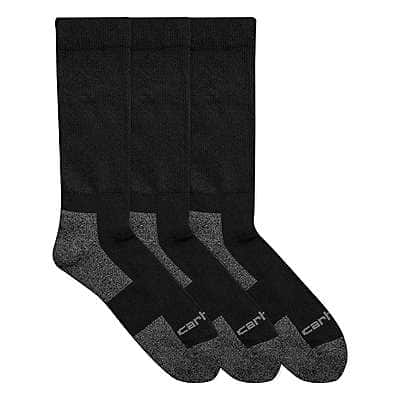 Carhartt Men's Black All-Season Comfort Stretch Crew Sock 3 pack - front