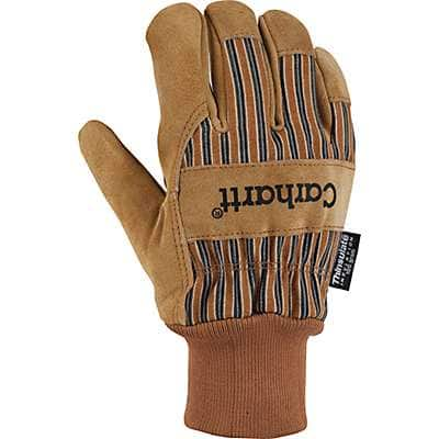 Carhartt Men's Carhartt Brown Insulated Suede Knit Cuff Work Glove - front