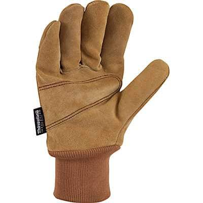 Carhartt Men's Carhartt Brown Insulated Suede Knit Cuff Work Glove - back