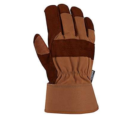 Carhartt Men's Carhartt Brown Insulated Bison Leather Safety Cuff Work Glove - front
