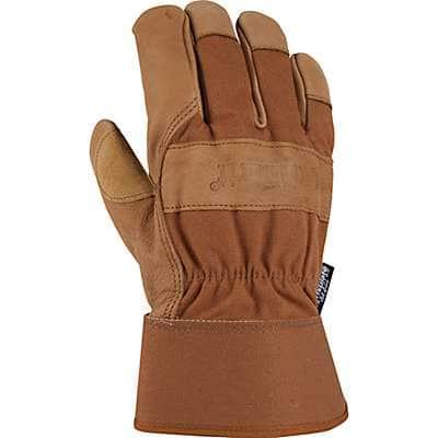 Carhartt Men's Carhartt Brown Insulated Grain Leather Safety Cuff Work Glove - front