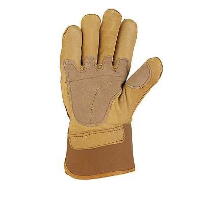 Carhartt Men's Carhartt Brown Grain Leather Safety Cuff Work Glove - back