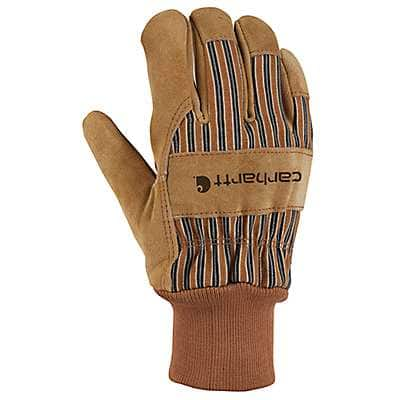 Carhartt Men's Carhartt Brown Suede Knit Cuff Work Glove - front