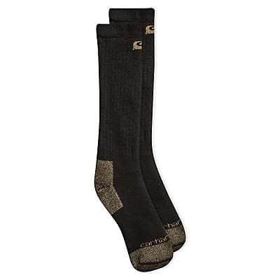 Carhartt Men's Black Full Cushion Steel-Toe Cotton Work Boot Sock 2 Pack - front