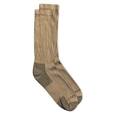 Carhartt Men's Khaki 3 Pack All Season Cotton Crew Sock - front
