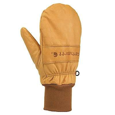 Carhartt Men's Brown Insulated Leather Mitt Knit Cuff Work Glove - front