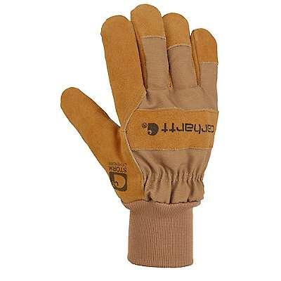 Carhartt Men's Carhartt Brown Waterproof Breathable Suede Knit Cuff Work Glove - front