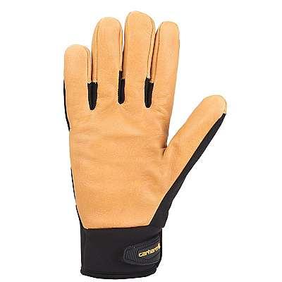 Carhartt Men's Dark Grey Brown Lined Dex Cow Grain Glove - back
