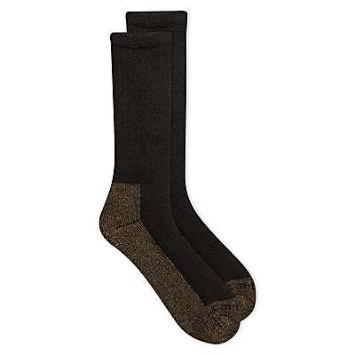 Carhartt Men's Heather Black Full Cushion Steel-Toe Synthetic Work Boot Sock 2 Pack - front