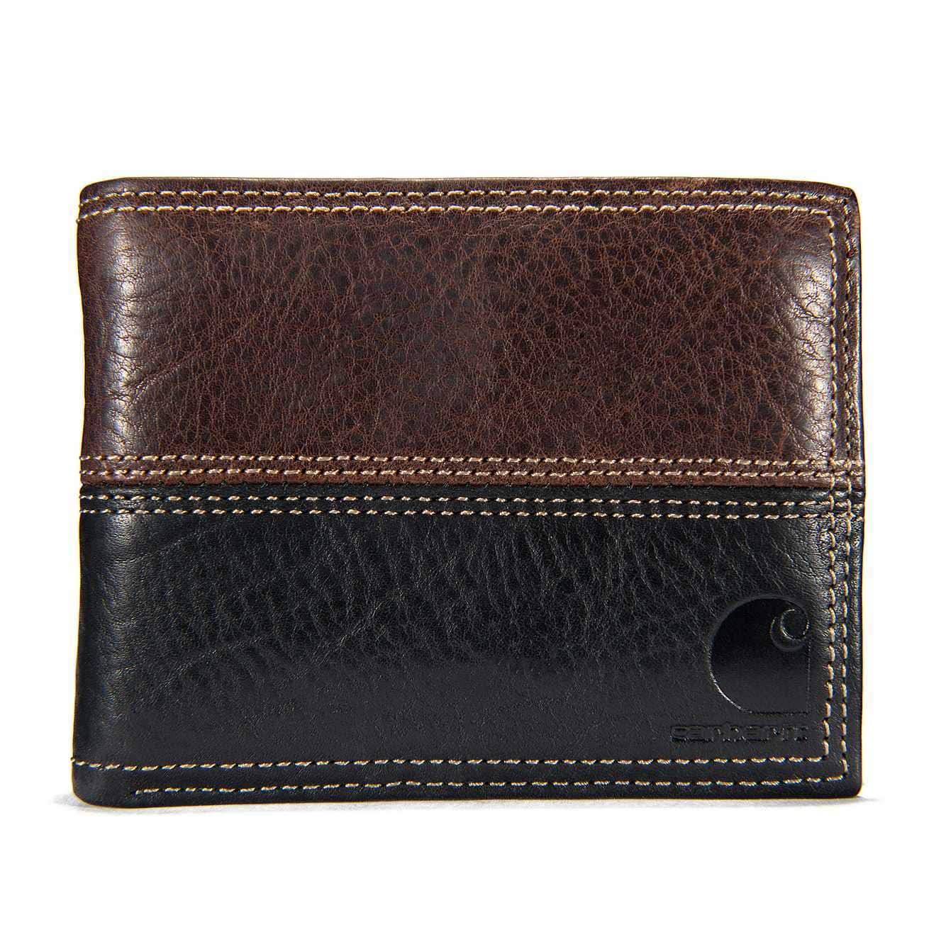 Picture of Canvas Passcase Wallet in Brown and Black Leather