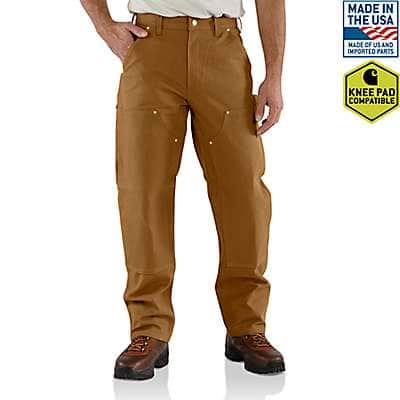 Carhartt Men's Carhartt Brown Firm Duck Double-Front Work Dungaree - front
