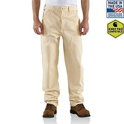Carhartt Men's Natural Double-Front Drill Work Dungaree - front